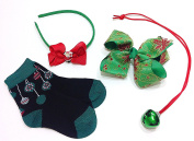 Christmas Hair Bow, Headband, Holiday Socks & Jingle Bell Necklace for Girls