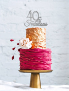 40 & Fabulous - 40th Birthday Cake Topper - Swirly - Glitter Silver
