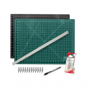 """Cutting Mat with Craft Knife & Ruler Set - Professional 24X18 Self Healing Double Sided Rotary Mat Precision Hobby Knife with 12 Easy Replacement Blades and 24"""" Steel Corked Backed Ruler"""