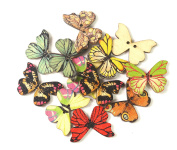 ALL in ONE Mixed Colour Wooden Butterfly Button Sewing Button for DIY Sewing Arts Crafts Scrapbooking Decoration