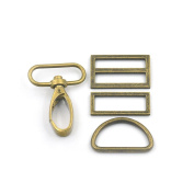 "2 Sets Swivel Hook Clips Buckles Triglides D Rectangle Ring Strap Snap Metal 1.5"" 38mm Bronze"