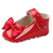 YJYdada Baby Infant Girl Bowknot Leather Shoes Anti-slip Soft Sole Mary Jane Shoes (11