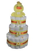 Sunshine Gift Baskets - Ducky 3-Tier Nappy Cake, DIY for a Boy/Girl Baby Shower, or Centrepiece for a Gender Reveal Party. Decorated with Yellow & Orange Ribbons & Bows - 74 Pampers Swaddlers Nappies
