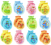 Liwely 12 Pairs Unisex-Baby No Scratch Mix Colours Assorted Mittens, 100% Cotton, Assorted animals
