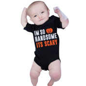 TRENDINAO Halloween Pumpkin Baby Boys Girls Black Short Sleeve Romper Jumpsuit Clothes