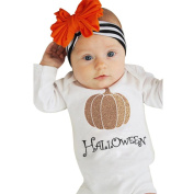 TRENDINAO Newborn Baby Boys Girls Halloween Pumpkin Romper + Leg Warmers + Headband Outfit Clothes Set