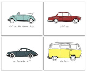 20cm x 25cm Vintage Cars Nursery Prints for Baby and Children Room Decor & Decorations Perfect for Baby Shower Gift Ideas