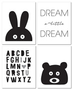 20cm x 25cm Black and White Nursery Prints for Baby and Children Room Decor & Decorations Perfect for Baby Shower Gift Ideas