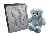 Baby Shower Keepsake Picture Frame with Heartfelt Poem For Baby and Soft Plush 18cm Blue My First Teddy Bear For Baby Boy