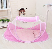 Home Cal Mosquito Net for Baby Encryption Fabric Portable Folding Mosquito Net Pink with Bottom