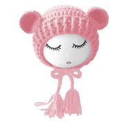 Unisex Newborn Baby Girls Boys Lovely Photography Hat Props Costume Clothing Headdress with Cute Bear Doll for 0-1 Year Old Pink