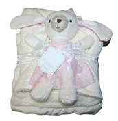 Kyle & Deena 2-pc Baby Girl Ivory Blanket and Plush Bunny Toy