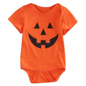 TRENDINAO Halloween Kids Baby Boys Girls Orange Romper Jumpsuit Clothes Short