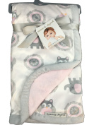 Blankets and Beyond Pink and Grey Owl and Elephant Baby Blanket