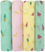 """Muslin Baby Swaddle Blankets """"Tutti Frutti"""" 4 Pack- CuddleBug 120cm x 120cm Large Fruit Muslin Swaddles - Soft Cotton Blankets - Baby Shower Gift - Perfect for Nursery Sets - Unisex!"""