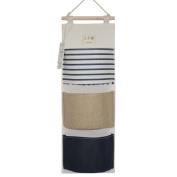 YOUOR Linen Cotton Fabric Wall Door Closet Hanging Storage Bag 3 Pockets Over the Door Organiser