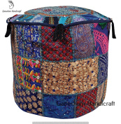 Room Decorative Ottoman Handmade Pouffe Cover, Designer Ottoman Cover Embellished With PatchWork And Hand Embroidery Work, Indian Vintage Ottoman, Seating Pouffe, Indian Floor Cushion