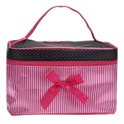 Aipark Women Square Bow Tie Stripe Handle Cosmetic Makeup Bag