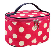 Aipark Handle Round Dot Large Capacity Travel Makeup Organiser Case Holder Cosmetic Bag With Mirror