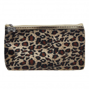Aipark Women Leopard Pattern Waterproof Zipper Hand Pouch Bag With Mirror For Cosmetic Make Up Storage
