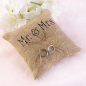 Mintbon 15cm x 1.8m Mr Mrs Wedding Ring Pillow Burlap Jute Bow Twine Rustic Ring Bearer with Bowknot,Wedding Ring Cushion Ring Bearer Mr Mrs Ring Bearer Pillow With Ribbon