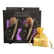 Revele Two Exfoliating Washtowels with Honey Soap Bar Gift Set