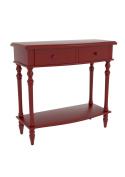Urbanest Hamilton Accent End Table with 2 Drawers, 80cm Tall, Red