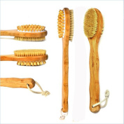 Bbshop Natural Bristles Bamboo Bath Body Brushing Effective 2-in-1 Head Brushes for Wet and Dry with Long Handle for Exfoliating Skin and Cellulite