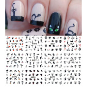 AKOAK 12 Sheets Cute Cat Pattern Watermark Designs Nail Art Stickers Water Transfer Decals Beauty Nails for Nail Art Design