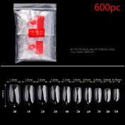 Coerni Premium 600Pcs Plastic False Acrylic Nail Tips Multi-size 3 Colour (Clear, White, Natural)