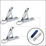 3pcs Fingernail Clippers Stainless Steel Foldable Nail Clipper Set, Portable Multi-Function, Sharp Sturdy Trimmer Set for Men Women,2 Silver & 1 Black