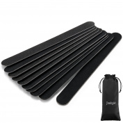 JewelryWe 10pcs Professional Nail Files Black Washable Double Sided Nail Buffering File