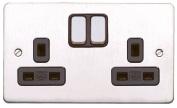 MK Edge K14347Bssb 13A 2-Gang Double Pole Switch Socket