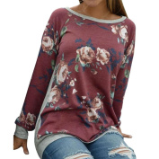 Women Autumn Long Sleeve Floral Printing Shirt Multicolor Round-Neck Casual Blouse Tops by XILALU