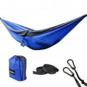 """Camping Hammock Portable Double Hammock with straps and carabiners,lightweight Parachute Nylon 210T,180kg,126""""X79"""""""