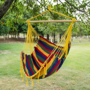 Sundale Outdoor Canvas Hanging Hammock Swing Chair Seat with Wood Spreader Bar