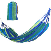 Hammock for Camping Outdoor Travel Blue Red Tree Hanging Bed Fabric Nylon Canvas Portable Lightweight Small Backyard Garden Patio Stripe Hammock Supports 200kg with Straps Carrying Case