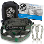 Explore Outfitters Hammock Tree Straps 2000+ LBS Heavy Duty Ultralight No-Stretch Adjustable Suspension System, XL, Set of 2, Green
