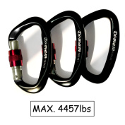 3-Pack Domum 25kN Super Lightweight Aluminium Carabiner Clip Holds 2020kg with Screw Gate EN12275 Certified for Rock Climbing & Hammock Used for Exploring Rappelling