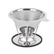 XIYIXIFI Pour Over Coffee Filter - Paperless And Reusable Coffee Maker Stand , High Grade Stainless Steel (304) Cone Dripper For Chemex, Hario V60 And Other Coffee