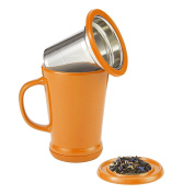casaWare Tilt and Drip Tea Infuser Ceramic Mug, 410ml