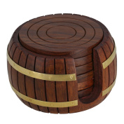 Rakhi Gift to your sister Wooden Tea Coaster, 6 Coaster with Barrel Holder, Unique for Kitchen, Table, Barware, Coffee Coaster with Holder