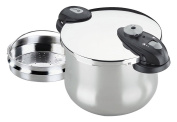Fagor Future 10 litre Quart Pressure Cooker Incl. 3in1 sieve insert for steam cooking, as a drainer and a multi-grater, inductive, 22cm) silver