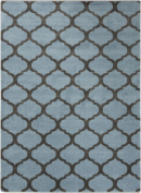 0.6m x 0.9m Celestial Gem Silhouette Smokey Blue and Charcoal Grey Area Throw Rug