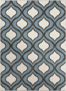 0.6m x 0.9m Gated Raindrops Steel Blue, Charcoal Black and Ivory Area Throw Rug