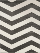 0.6m x 0.9m Contour Wave Grey and Ivory White Decorative Area Throw Rug