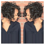 Yalasga Women Short Black Hair Wigs, Front Curly Synthetic Wig New Hairstyle