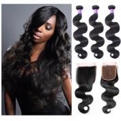 Shengqi Hair Human Hair Bundles of Mink Brazilian Hair Weave 100 Virgin Hair Brazilian Body Wave Bundles with Closure Top Quality Hair Extensions 10 12 14 +10