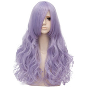 Lilac Purple Long 80cm Curly Heat Resistant Cosplay Wig Fashion Lolita Women's Party