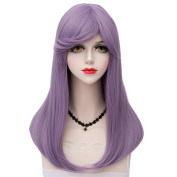 TOP-MAX Lolita Ash Purple Long 55CM Natural Wavy Fashion Women Cosplay Wig + Wig Cap